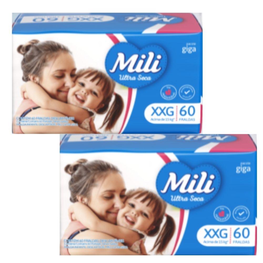 Fralda Descartável Mili Ultra Seca GIGA XXG  2 pacotes com 60 (Total: 120 fraldas)