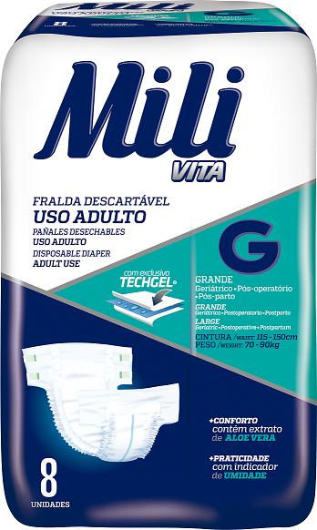 Fralda Geriatrica (para USO ADULTO)- Tamanho G - Pacote C/ 8 Fraldas