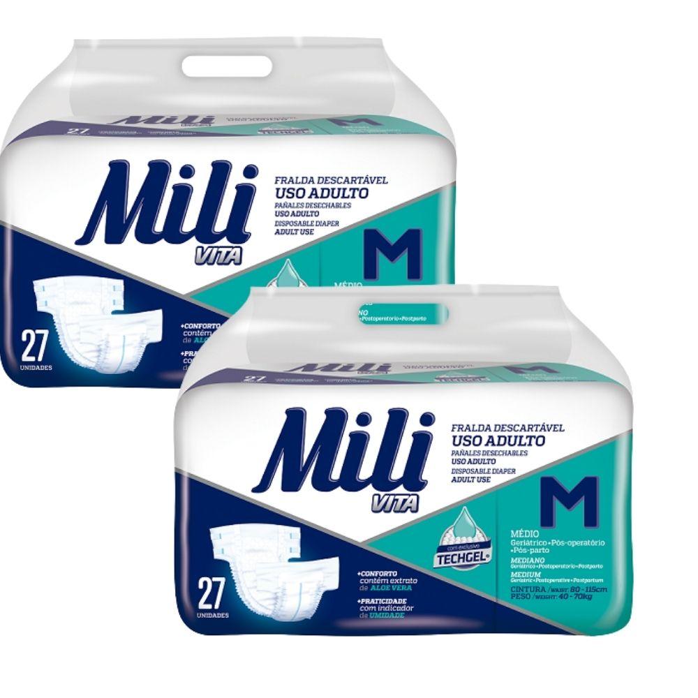 Fralda Geriatrica -Tam M- Mili Vita - 2 pacotes com  27