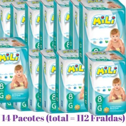 Fralda Mili Ultra Seca - Tamanho G - Diurno -14 Pacotes com  8  fraldas