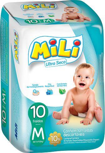 Fralda Mili Ultra Seca - Tamanho M - Diurno  - 1 Pacote com 10 fraldas
