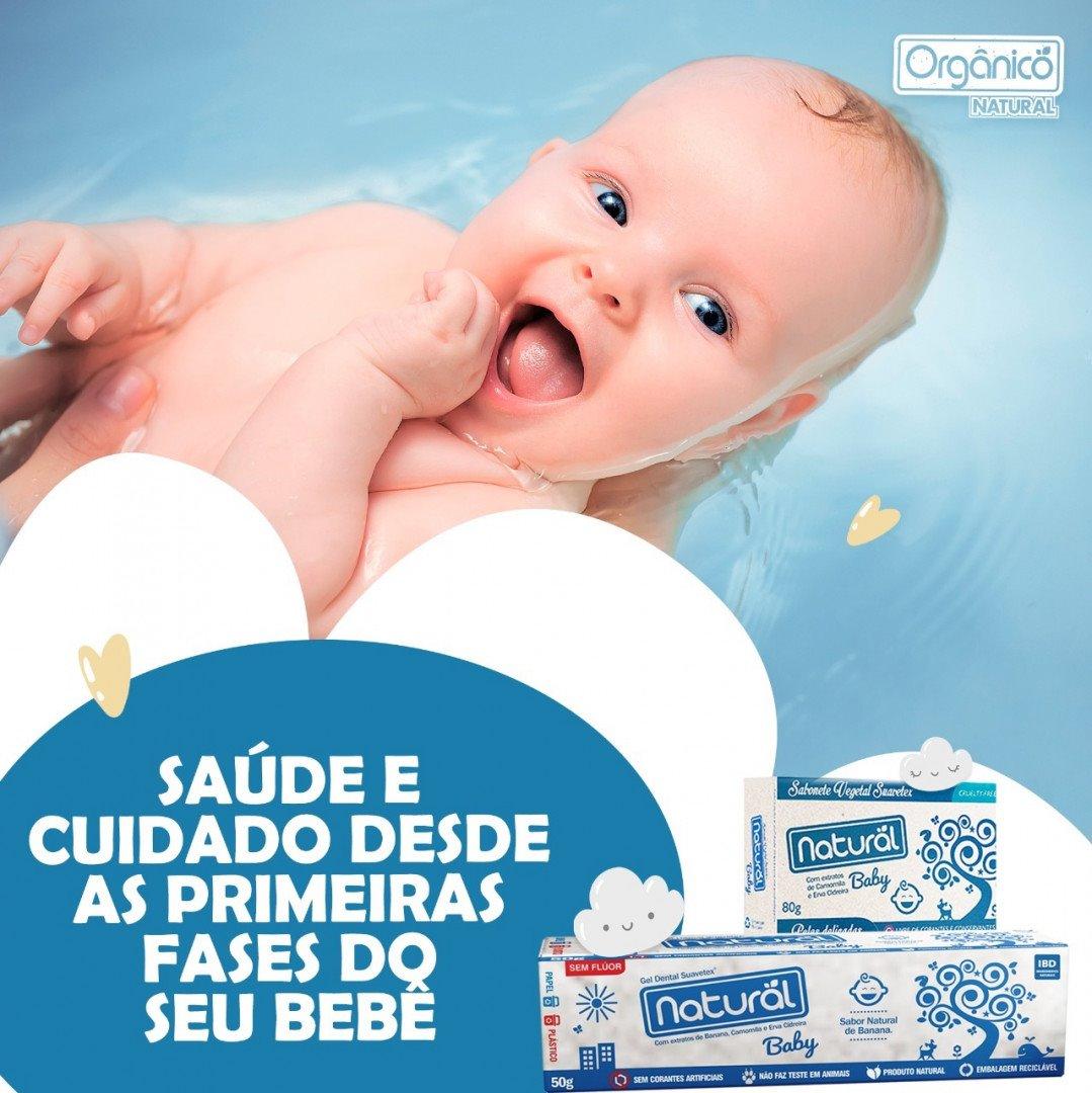 Gel Dental Natural Baby com Extratos de Banana, Camomila e Erva Cidreira 50g (sem flúor)