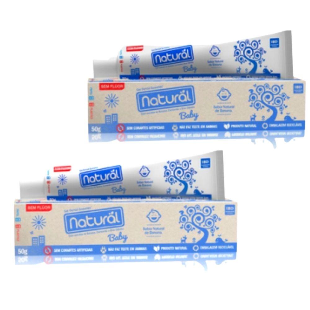 Gel Dental Natural Baby  Vegano com Extratos de Banana, Camomila e Erva Cidreira  (sem flúor)    2 caixas c/ 50 gr