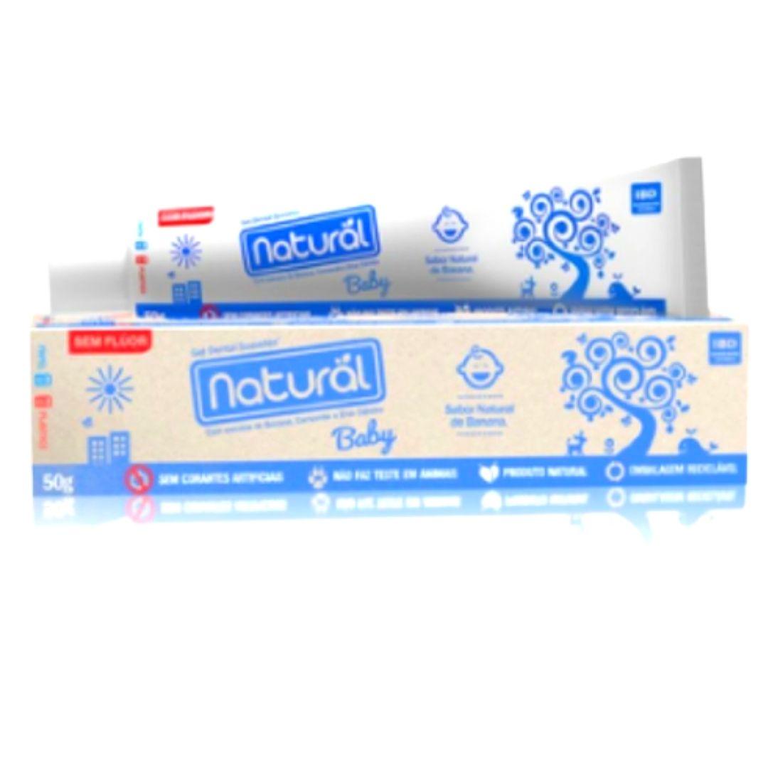 Gel Dental  Vegano Natural Baby c/ Extratos de Banana, Camomila e Erva Cidreira 50g (sem flúor)    3 caixas