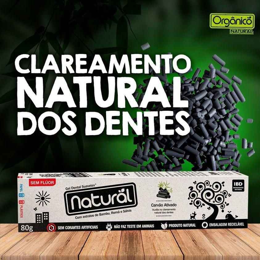Gel Dental Vegano Natural Suavetex c/Carvão Ativado, extratos de Bambu, Romã e Sálvia   80g (sem flúor)