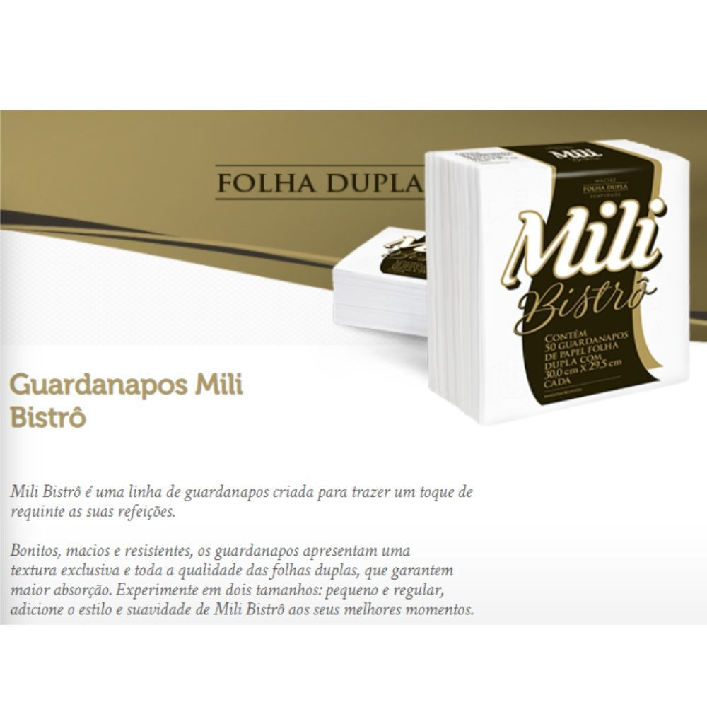 Guardanapo de Papel Mili Bistro- Folha Dupla- 30x29,5 cm- 8 pacotes com 50 unidades