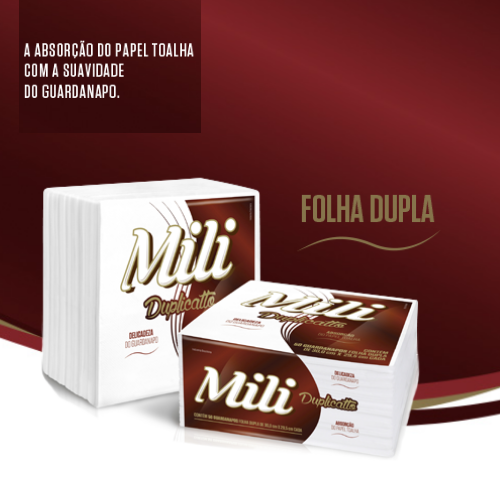 Guardanapo Mili DUPLICATO- Folha DUPLA- 30X29,5CM   12 Pacotes com 50