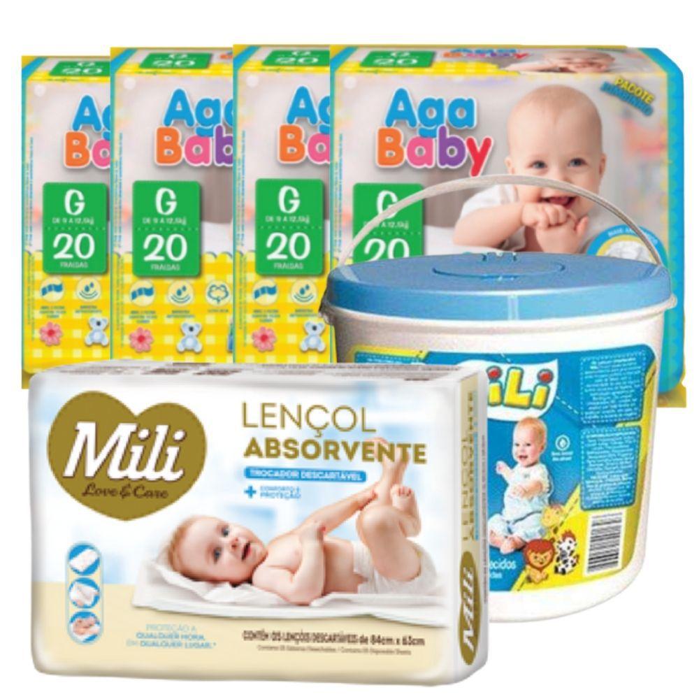 Kit 80 Fraldas Descartável Aga Baby Tam G + Lenço Umedecido + Lençol Descartável