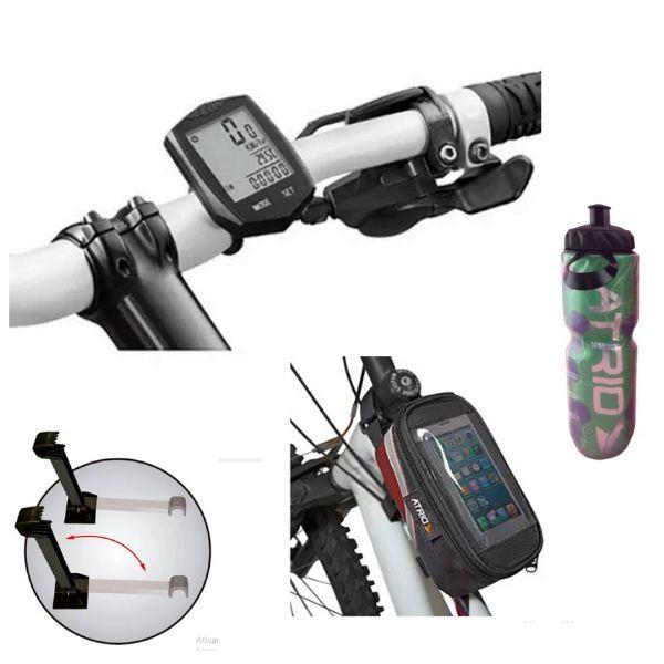 Kit BIKE: Ciclocomputador+Bolsa+Garrafa+Suporte de Parede p/bicicleta