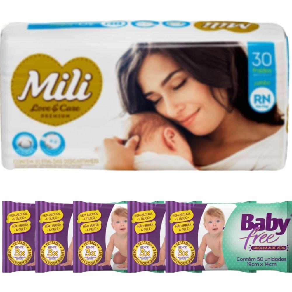 KIT Fralda Descartável Mili Love Care RN 1 pacote c/ 30+ Lenço Umedecido Baby Free (5 pacotes c/50)