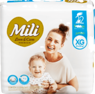 KIT Fralda Descartável Mili Love Care Tam: XG 1 pacote c/ 22+ Lenço Umedecido Baby Free (5 pacotes c/50)