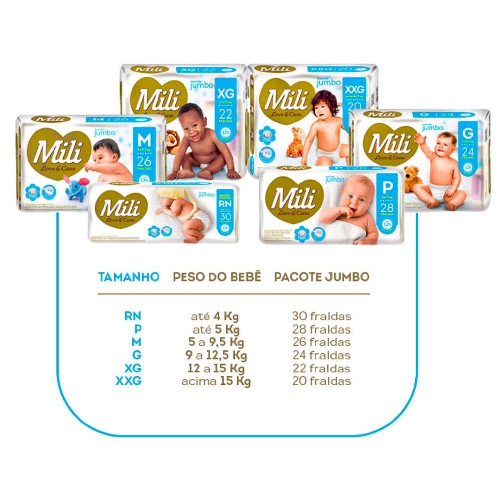 kit Fralda Descartável MILI Tam: RN + Lenço Umedecido Love Care (3 pacotes com 100 lenços)