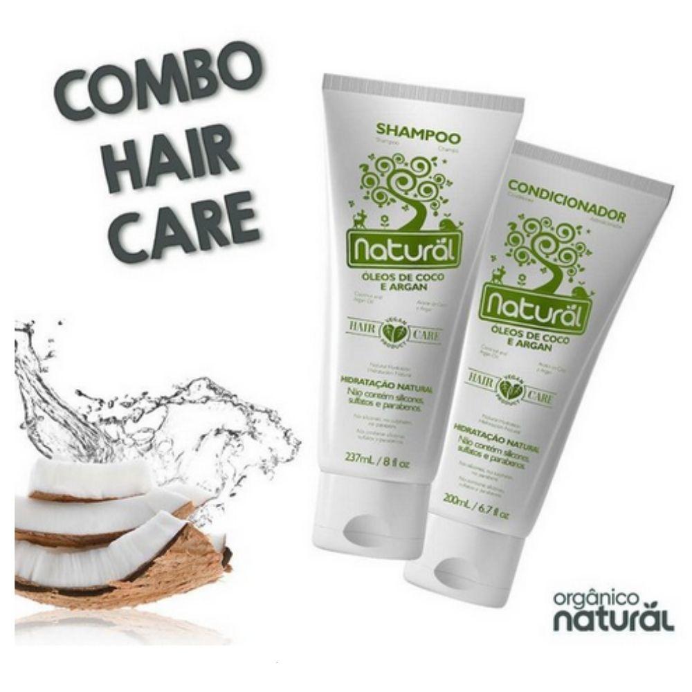 Kit Shampoo + Condicionador, com Óleos de Coco e Argan - Orgânico Natural