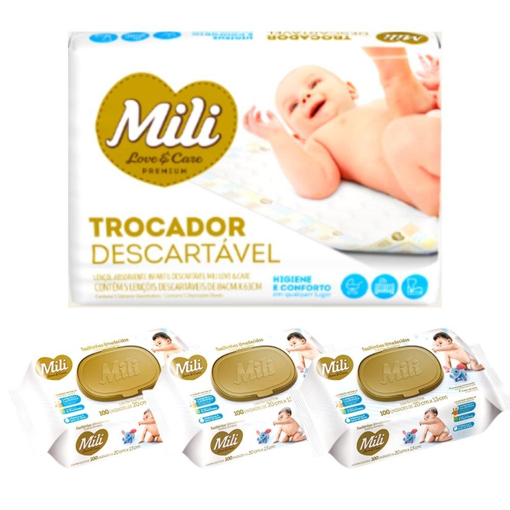 Kit Trocador Descartável Mili + Lenço Umedecido Love Care (3 pacotes de 100 lenços)