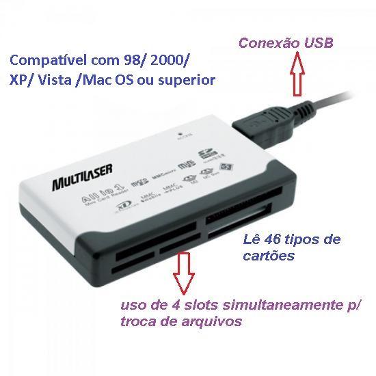 Leitor de Cartao de Memoria USB 46 em 1 AC076 Multilaser