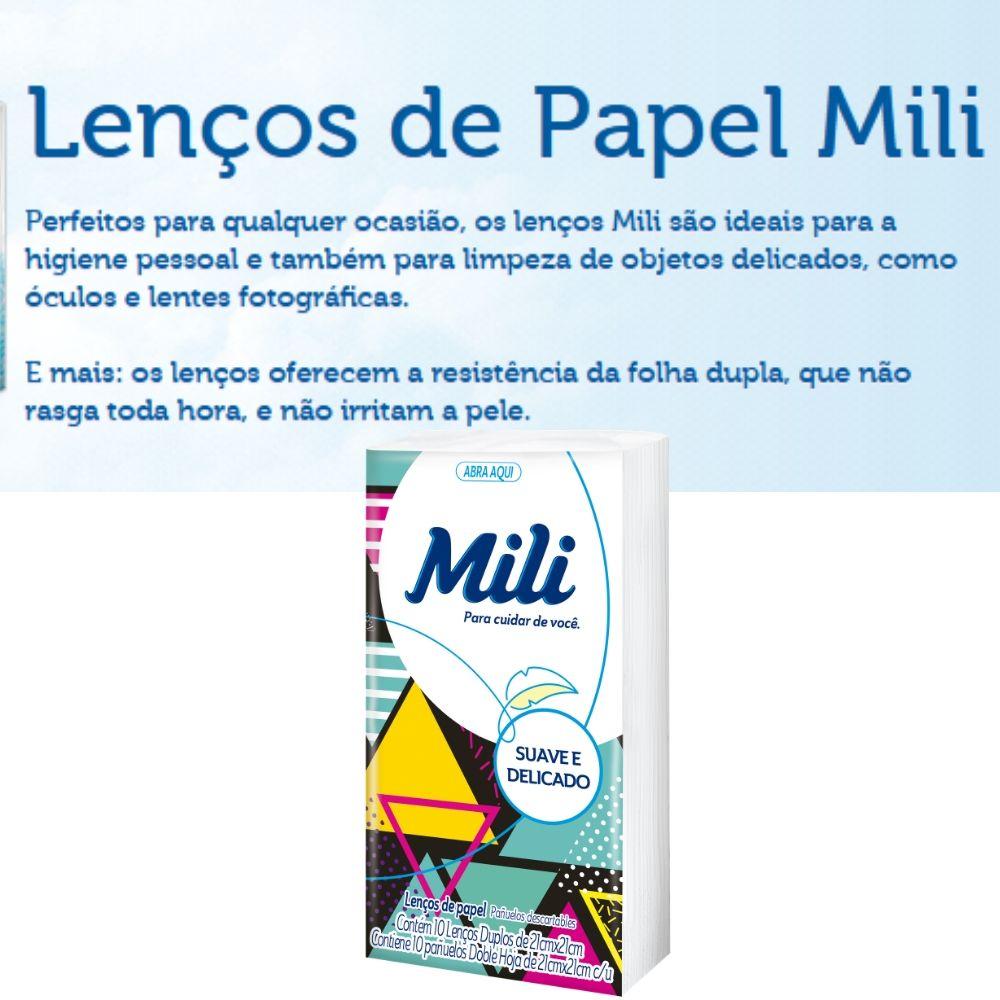 Lenço de Bolso Papel Descartável  MILI  102 Pacotes c/ 10 Unidades (total: 1020 lenços)
