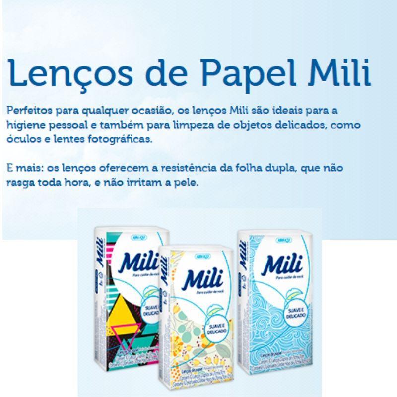 Lenço de Bolso Papel Descartável  MILI- 144  Pacotes c/ 10 Unidades (total: 1440  lenços)
