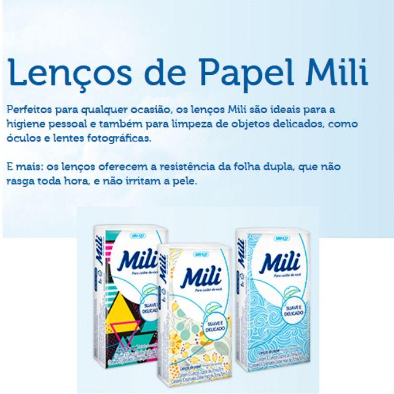 Lenço de Bolso Papel Descartável  MILI   54  Pacotes c/ 10 Unidades (total: 540  lenços)