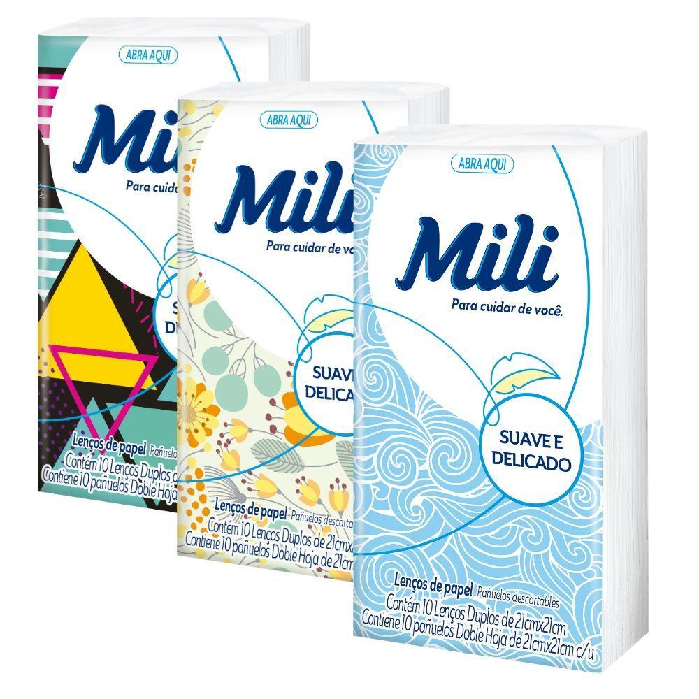 Lenço Descartável de Papel- MILI- 102  pacotes c/ 10 lenços