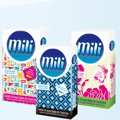 Lenço Descartável de Papel MILI- 6 Pacotes com 10 Unidades Cada