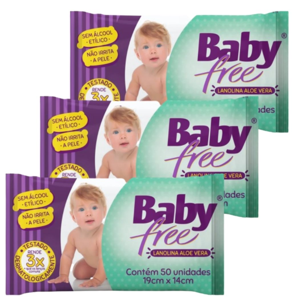 Lenço Umedecido Baby Free  (Toalha Umedecida)  3  Pacotes  com 50 unidades  (Total: 150 lenços)
