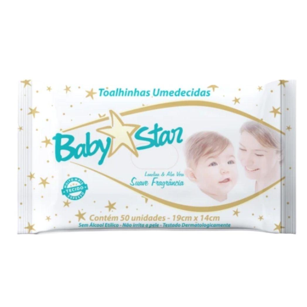 Lenço Umedecido Baby Star Premium  6 Pacotes  c/ 50 unidades (Total: 300 lenços) Mais espessos e Super macios!