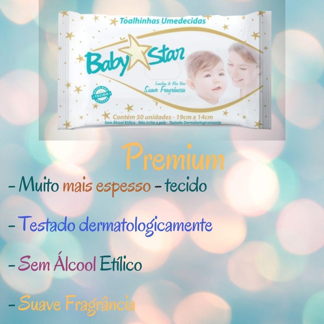 Lenço Umedecido Baby Star Premium Pacote com 50 unidades