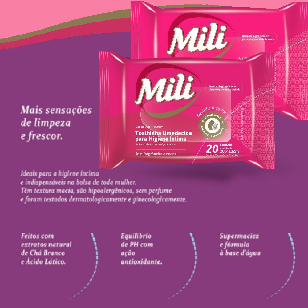 Lenço Umedecido de Higiene íntima MILI- 5 Pacotes com 20 Unidades