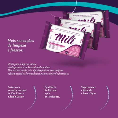 Lenço Umedecido de Higiene íntima ( toalhinha )  MILI- 12 Pacote com 20 Unidades (total:240)