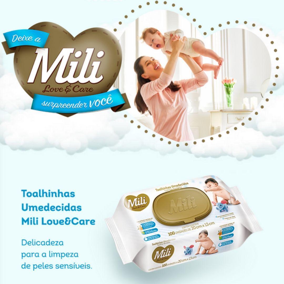 Lenço Umedecido Love Care + Absorvente intimo Feminino Noturno + Fralda Infantil - Mili