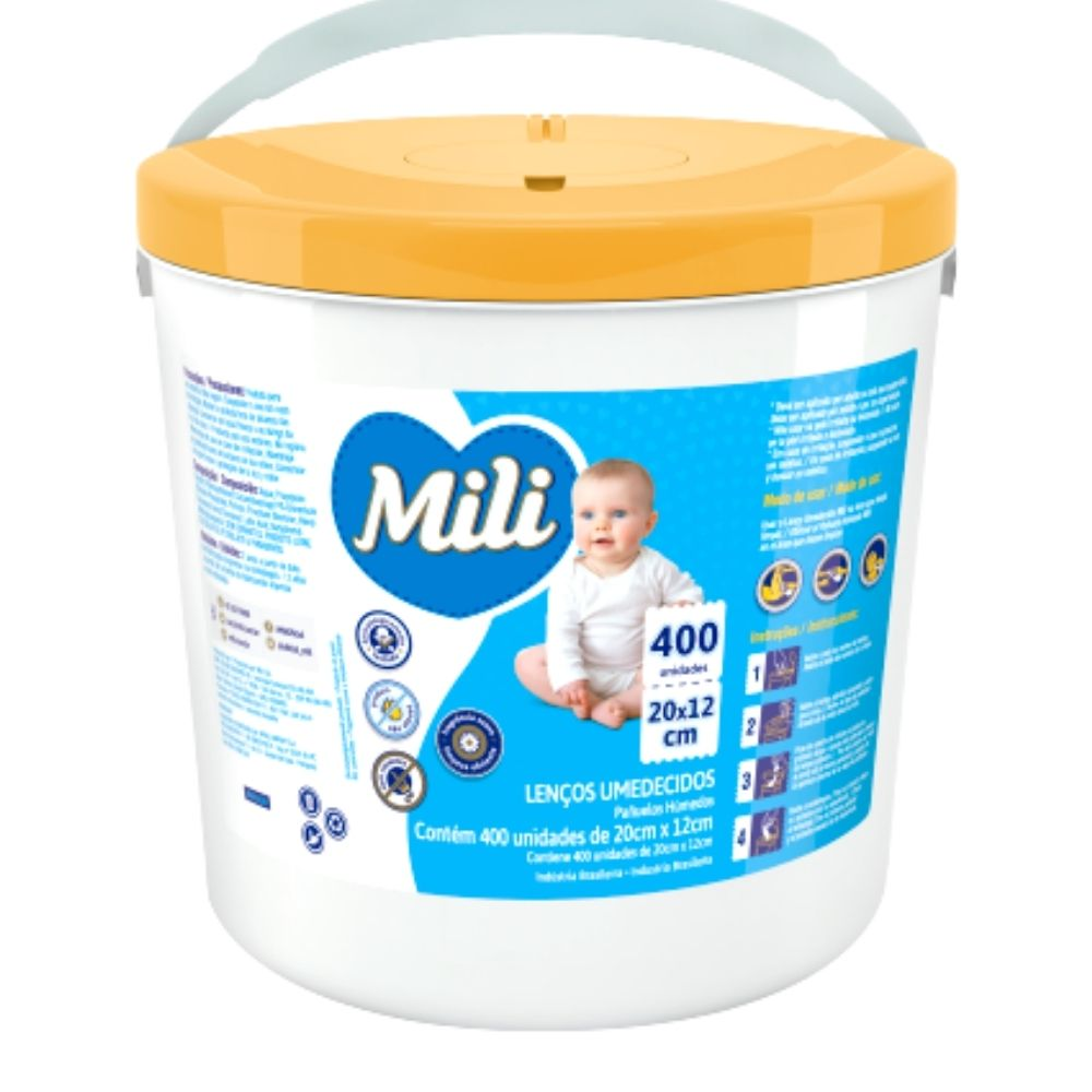 Lenco Umedecido MILI- Balde - 4 Baldes C/ 400 UN (total:1600)