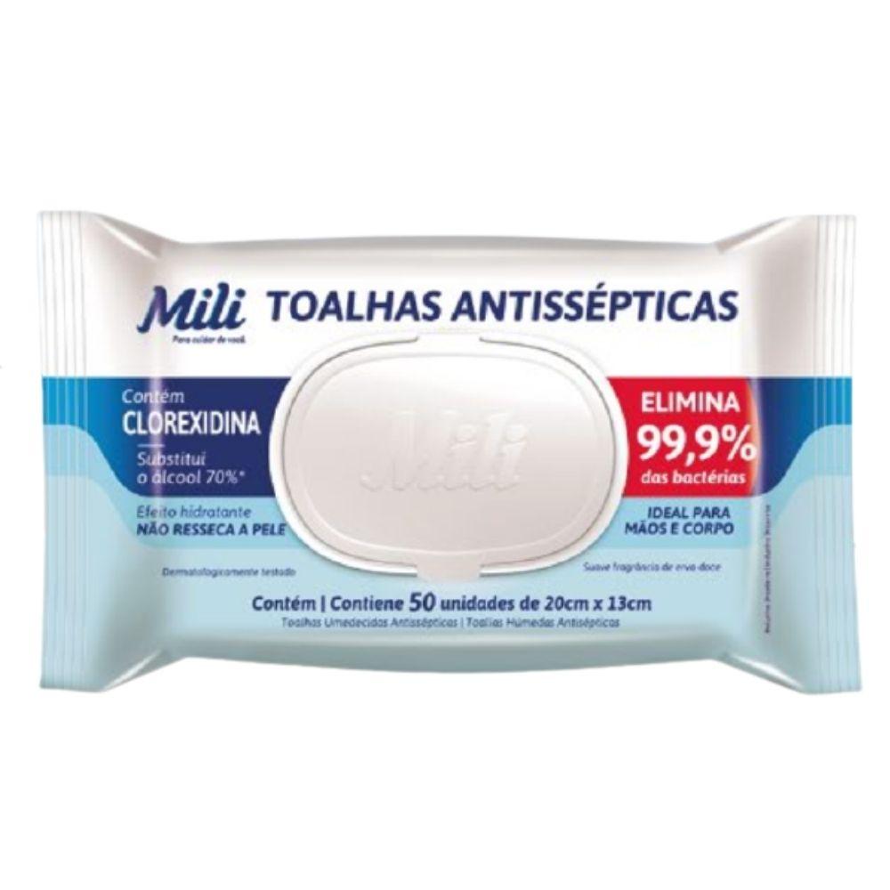 Lenço Umedecido ou Toalhas Antissépticas Mili  3 pacotes c/ 50 (Total: 150 toalhas)