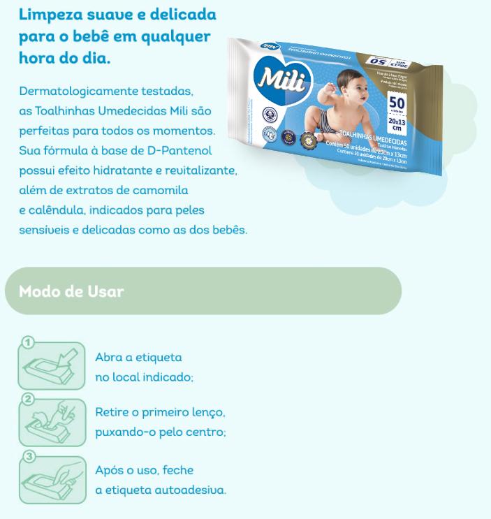 Lenço Umedecido / Toalha Umedecida Infantil- 12  Pacotes com 50 Unidades  cada (total: 600)