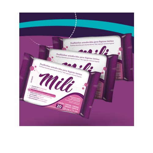 Lenço Umedecido (Toalhinhas)  de Higiene íntima -Mili - 48 pacotes c/20 un (total: 960)