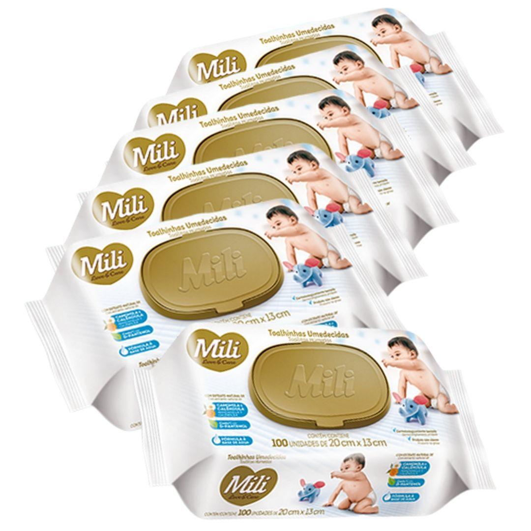 Lenço Umedecido (Toalhinhas Umedecidas)  Mili Love & Care   6 Pacotes com 100 unidades (total: 600)