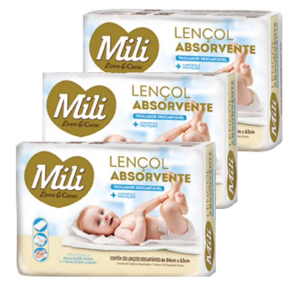 Trocador Descartável - Lençol Absorvente Descartável Mili- 3 Pacotes c/5 unidades cada (total:15 lençóis)