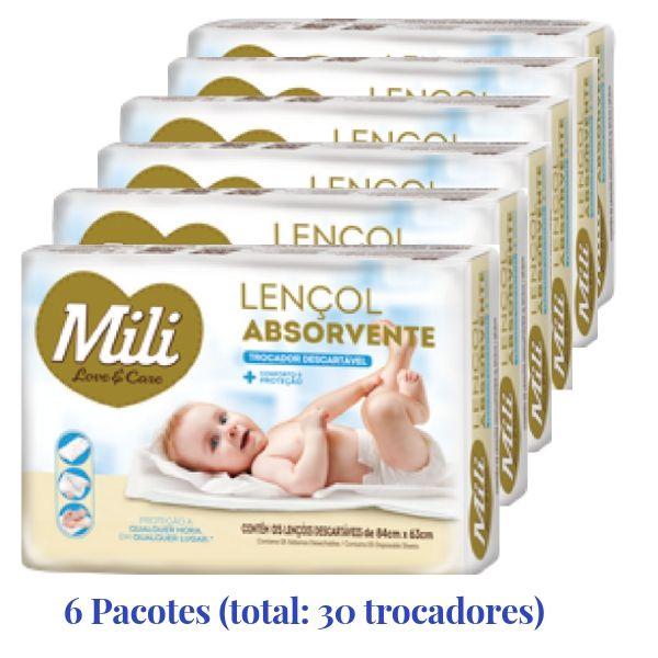 Lençol Absorvente Descartável Mili (trocador) - 6 Pacotes
