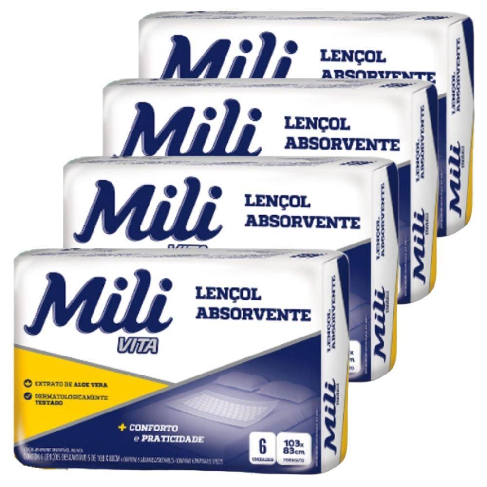 Lençol Descartável  Absorvente Mili Vita   4 pacotes com 6  unidades  (total: 24 unidades)