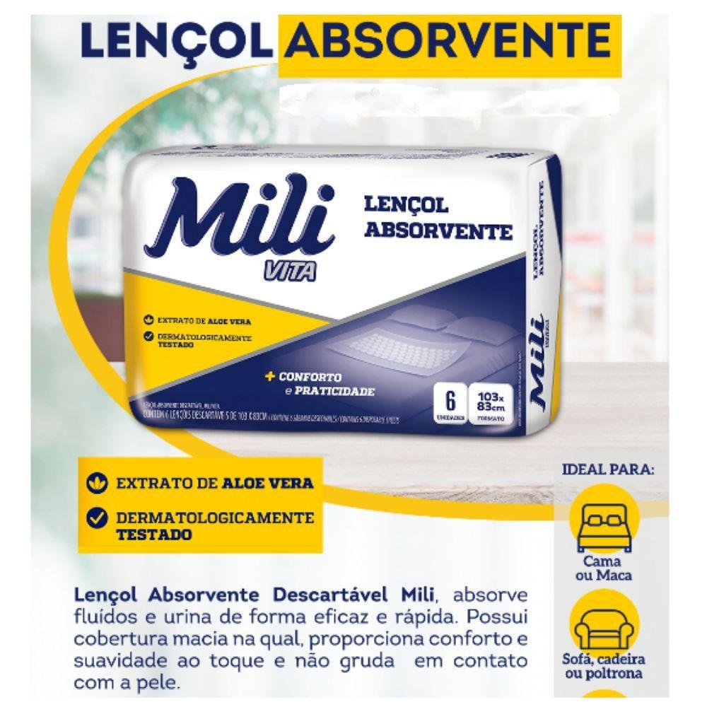 Lençol Descartável  Absorvente Mili Vita  6 pacotes com 6  unidades  (total: 36 unidades)