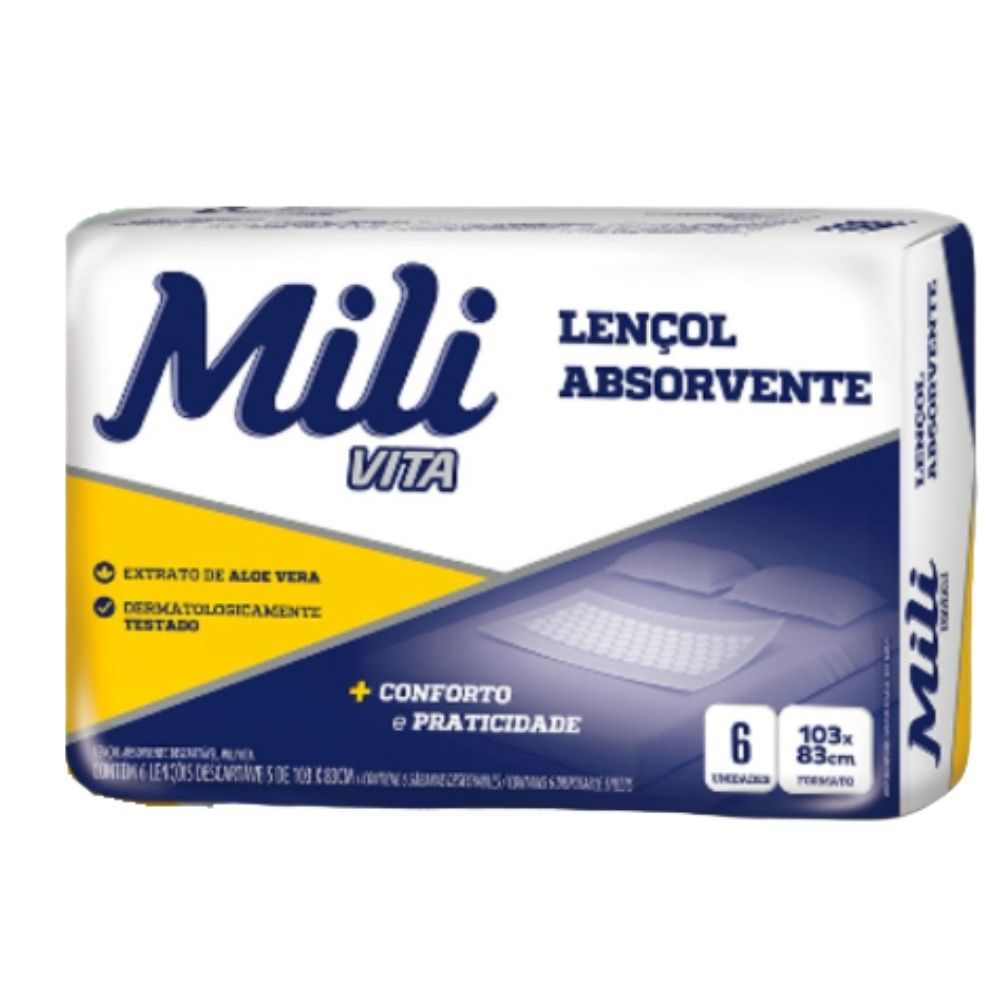 Lençol Descartável  Absorvente Mili Vita para adulto   2 pacotes com 6 lençóis   Total 12 lençóis