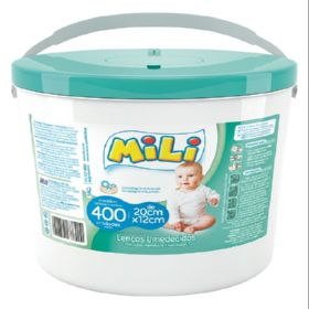 Lencos Umedecidos MILI- Balde - 6 Baldes C/ 400 UN (total: 2400)