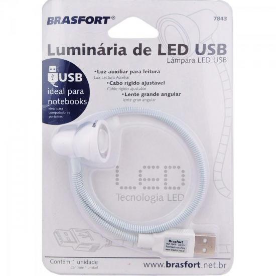 Luminaria LED USB Branca Brasfort