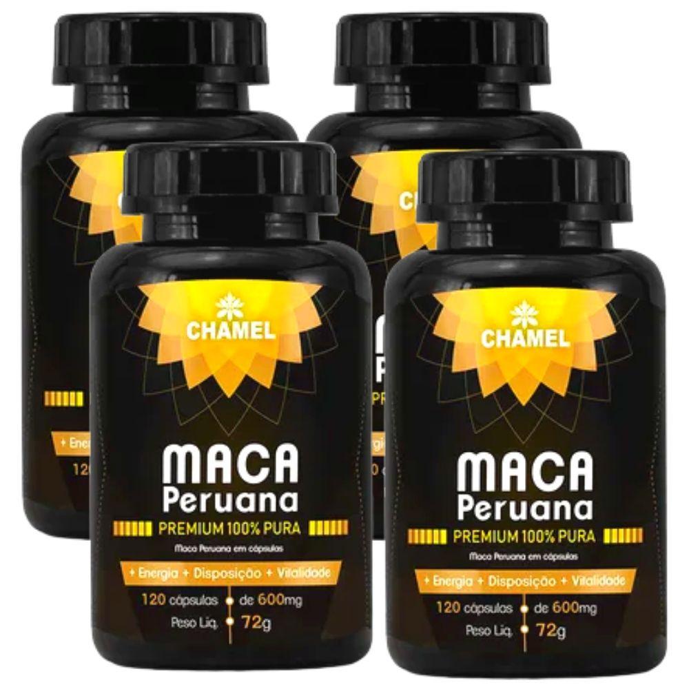 Maca Peruana Premium 100% Pura  4  Frascos com 120 cápsulas     Chamel