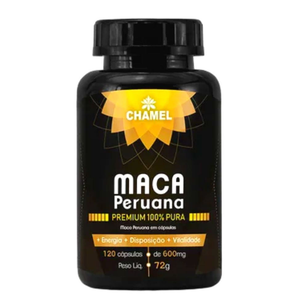 Maca Peruana Premium 100% pura com 120 cápsulas   Chamel