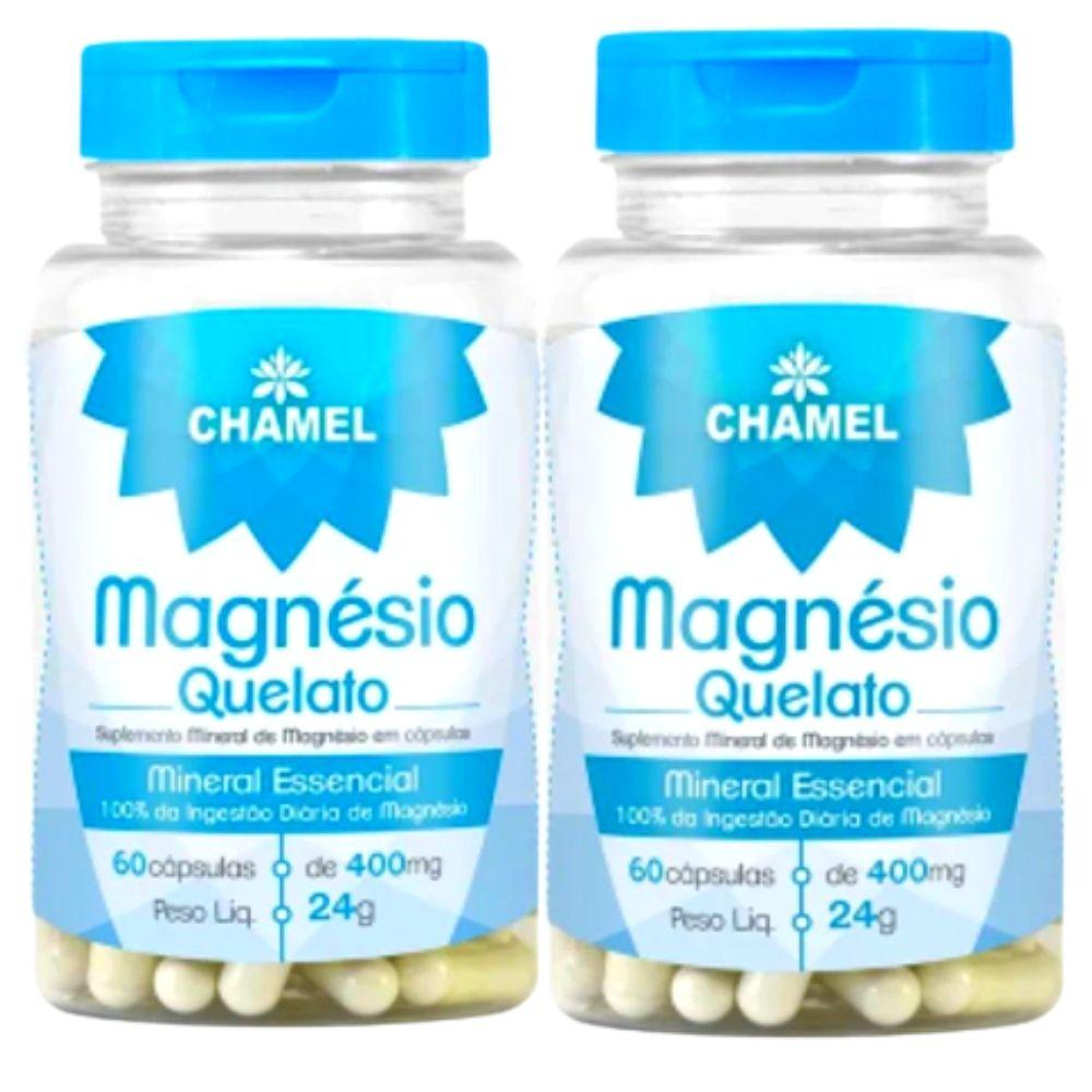 Magnésio Quelato  60 Cápsulas de 400mg  CHAMEL - 2 Frascos