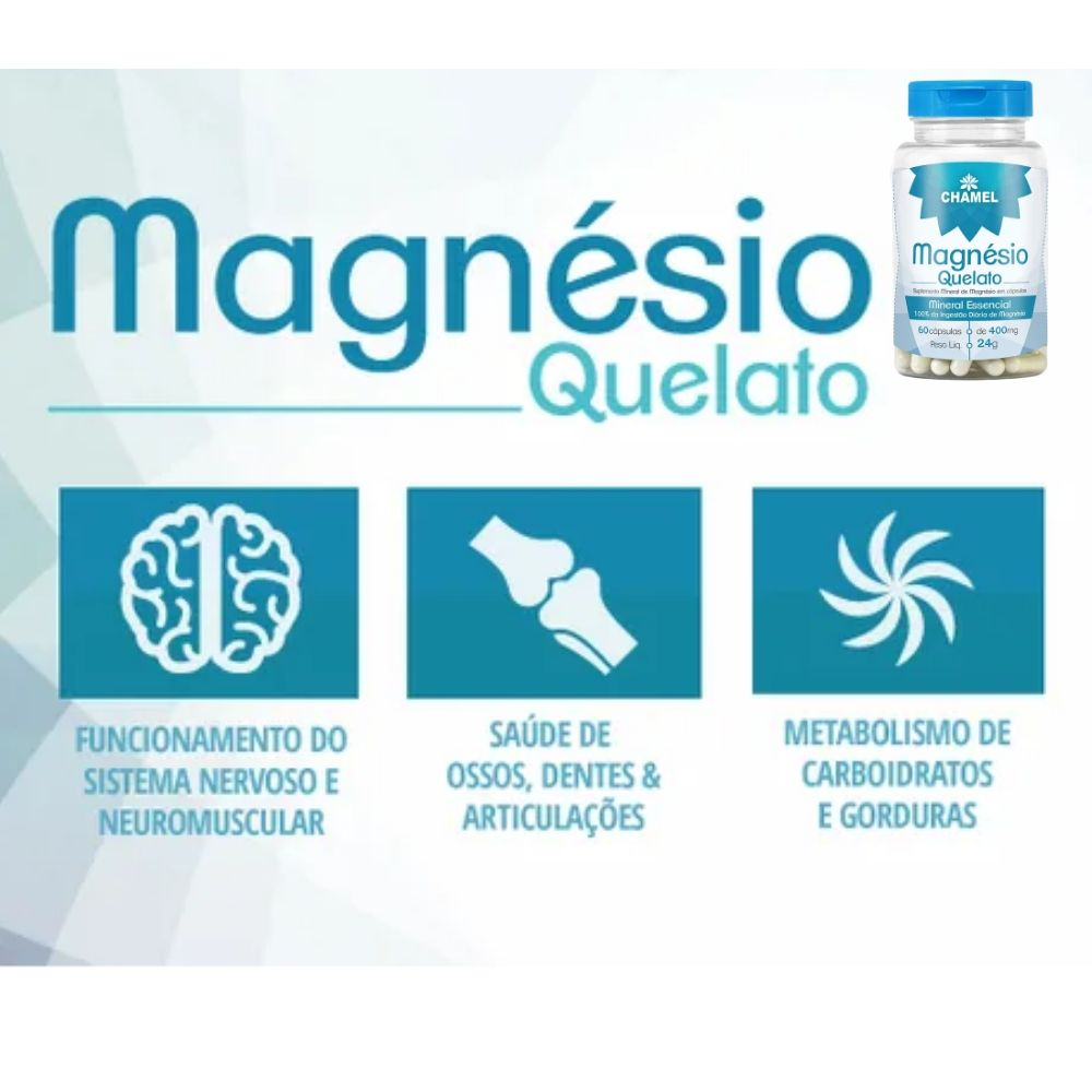 Magnésio Quelato  60 Cápsulas de 400mg  CHAMEL - 4 Frascos