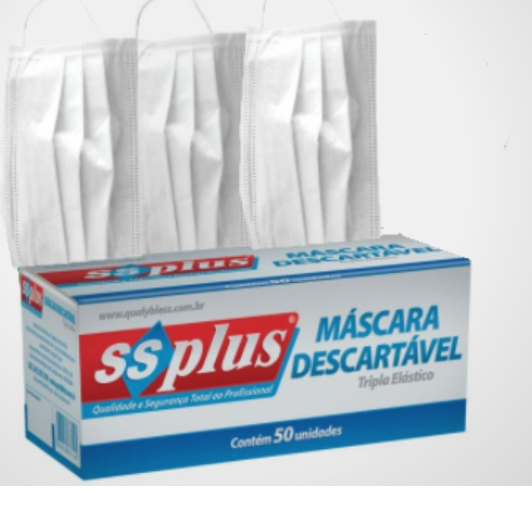 Máscara Descartável Tripla com elástico - caixa com 50 unidades - profissional