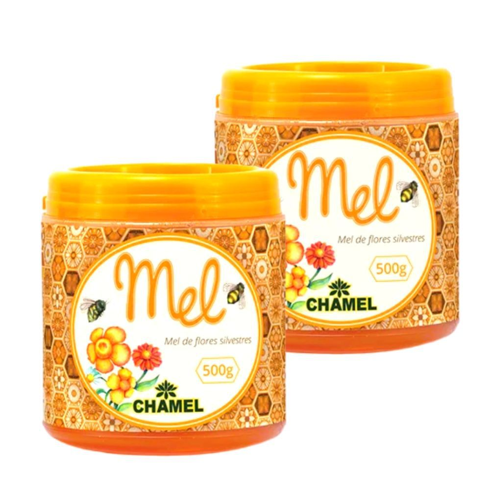 Mel Silvestre 100% Puro  2  Potes com 500g   Chamel