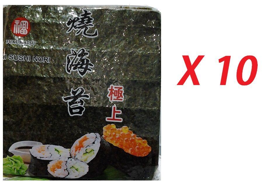 Nori - 10 pacotes c/50 folhas (Total=500 folhas) Fukumatsu
