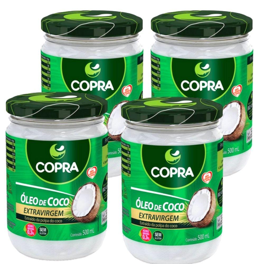 Oleo de Coco E#xtram Vrigem -Copra (4 vidros de 500 ml)